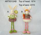 """15""""H Plait Mamá conejo con bebé-2Asst. -La decoración de Pascua"""