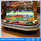 Réfrigérateur ouvert d'étalage d'île embrochable de Multideck de fruits avec le bon prix