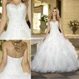 Шарика мантии Beaded сборок церков платье 2016 венчания