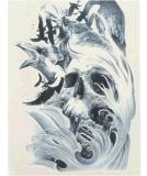 Etiqueta engomada temporal impermeable del tatuaje del pájaro esquelético del cráneo