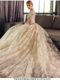 Vestidos de casamento inchado Z8016 do laço de Champagne dos vestidos nupciais da V-Garganta