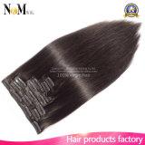 7Aブラジルのバージンの毛の人間の毛髪の拡張自然で黒いカラー毛のまっすぐな7PCS/Setブラジルの直毛クリップ