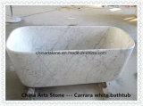 Белая ванна ванной комнаты Bianco Carrara мраморный