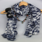 sciarpa di stampa 100%Polyester per l'accessorio di modo delle donne, scialli di svago