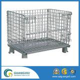 Recipiente de armazenamento de malha de arame dobrável para armazenamento de armazém usando