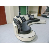 Sofà di cuoio in bianco e nero 8023 di ultimo disegno rotondo del sofà
