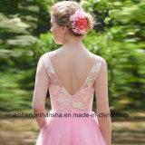 Les retours au pays de femmes rectifient la robe Backless sans manche de demoiselle d'honneur de lacet