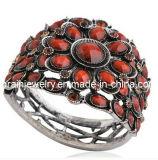 La joyería de moda de primavera/ 2013 de cristal rojo Rhinestone Pulsera de piedras preciosas chapado en aleación de zinc con muebles antiguos de la Plata libre de cromo níquel de plomo (Pb-069)