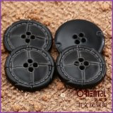 30mm Imitation Black Leather Button