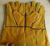 Luvas de soldadura de couro amarelas para a construção