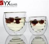 Taza del vidrio de borosilicato de bebida a prueba de calor / capa de la pared doble cristal Copa