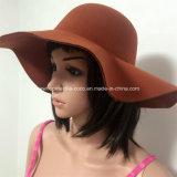 Chapéu de disfarce da senhora de moda colorido falso de lã com aba larga