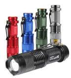 1AA oder 14500 schielten Minitaschenlampe des summen-LED mit Feder-Klipp an