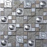 304 Material Silber Edelstahl Fliesen, Silber Farbe Rund Mosaik, Stahl Gemischt Holz Stil Mosaik
