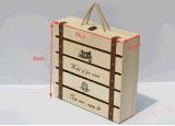 カスタムロゴデザインのワインのための4本のびんの木箱