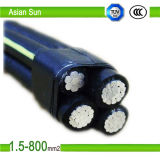 PVC en aluminium du faisceau 0.6/1kv, XLPE a isolé le câble aérien rouge de paquet, câble d'ABC
