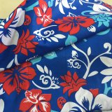 Os Shorts grandes da camisa do Beachwear da flor imprimiram a tela do poliéster do pêssego