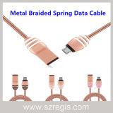 Nuevo cable de datos del USB del resorte del metal de la aleación del cinc del avispón