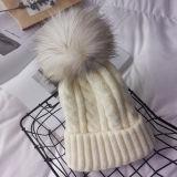 Cappello lavorato a maglia elegante e grazioso con il Pompom della pelliccia