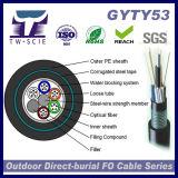Enterro de fibra óptica ao ar livre blindado encalhado GYTY53 do cabo da câmara de ar frouxa diretamente