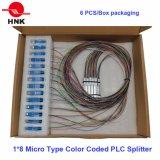 2*8 micro tipo codificato colore divisore ottico del PLC della fibra