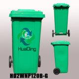 Bandeja de lixo de plástico 120L Lixeira de roda de borracha para HD2wnp120b-G ao ar livre
