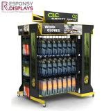 Supermercado personalizado piso de metal y madera Ropa Mostrar estanterías con mosquetones