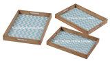 S/3 impressão personalizada retangular de madeira de frutos secos que serve a bandeja W/Alavanca
