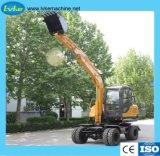 7 Ton/Excavadora Construcción hidráulica pequeña Excavadora de ruedas con motor Yuchai