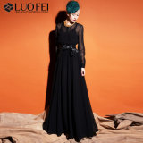 Леди мода A-линии черного шифона Maxi длинные юбки