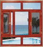 Haute qualité en bois rouge Fenêtre à battant en aluminium avec écran en acier inoxydable (ACW-038)