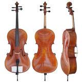 Handgemachtes Öl-Weinlese-Farben-Hauptstufen-Flamme-Ahornholz-Körper-Cello