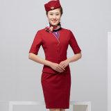Vestito elegante uniforme dallo Stewardess di bella linea aerea del manicotto di Short del V-Collo delle donne