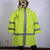 Куртка PU желтого цвета или времени зеленая 300d Оксфорд Coated для PPE