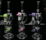 Hourglass-Glaspfeife für das Rauchen mit Kugel Perc transparent