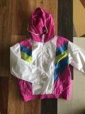 La mujer Windproof cortaviento Color pegado Hoooded Sportwear chaqueta de manga larga