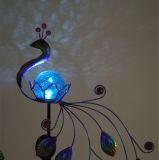 Illuminazione solare di figura del pavone di Ferro-Arte