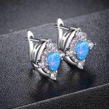 O micro pavimenta o brinco de bronze de Earstud da jóia dos brincos com o Opal para a senhora