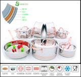 Il Cookware dell'acciaio inossidabile ha regolato il Cookware senz'acqua del corpo di Composited delle 5 pieghe