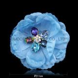 Цветок ткани Handmade декоративного Rhinestone способа шифоновый одевает вспомогательное оборудование одежды
