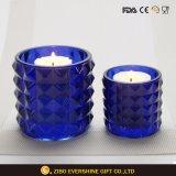 De donkerblauwe Houders van de Kaars van de Kaars van het Glas Kop In reliëf gemaakte