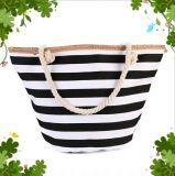 Corda de algodão Casual listrado bag bolsa de Praia Saco de ombro de moda