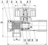 Válvula de ángulo de latón para lavabo Grifo de agua fría y caliente