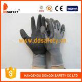 Ddsafety 2017 gants de travail de fini de pli de gants enduits par latex noir