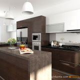 Compartiment en bois acrylique de cuisine de vente en gros de placage avec l'île (OP15-WV03)