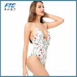 Tiefer Stutzen-Flora-Druck-Schwimmen-Klage-Badeanzug-Form-Bikini