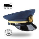 Ragte Qualitäts-goldenes Stickerei-Abzeichen-MilitärBrigadegeneral Schutzkappe mit schwarzer Brücke empor
