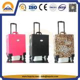 Colore rosa della cassa del carrello di modo/nero/caso professionale di trucco dello studio bellezza del leopardo (HB-6201)
