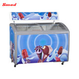 Congélateur de réfrigérateur profond d'utilisation d'étalage commercial de crême glacée