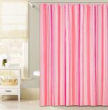 목욕탕을%s 분홍색 세로줄 디자인 PEVA 샤워 커튼